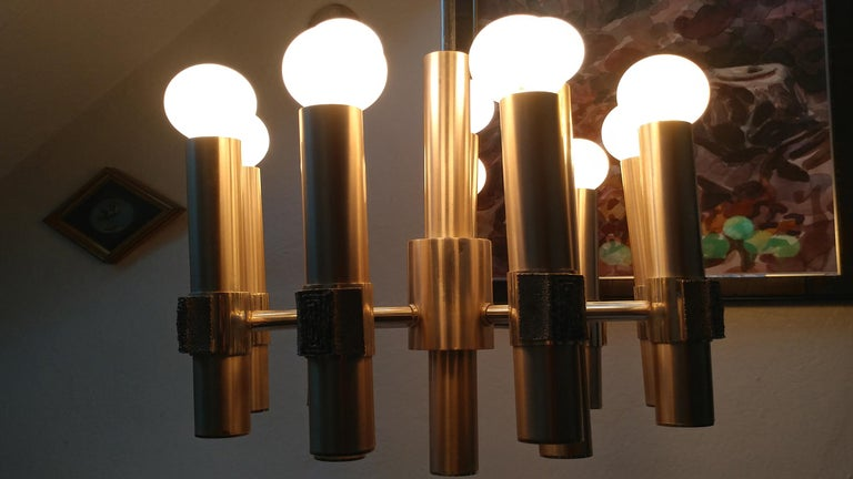 20th Century Gaetano Sciolari Twelve-Light Italian Chandelier, Offered by LaPorte For Sale