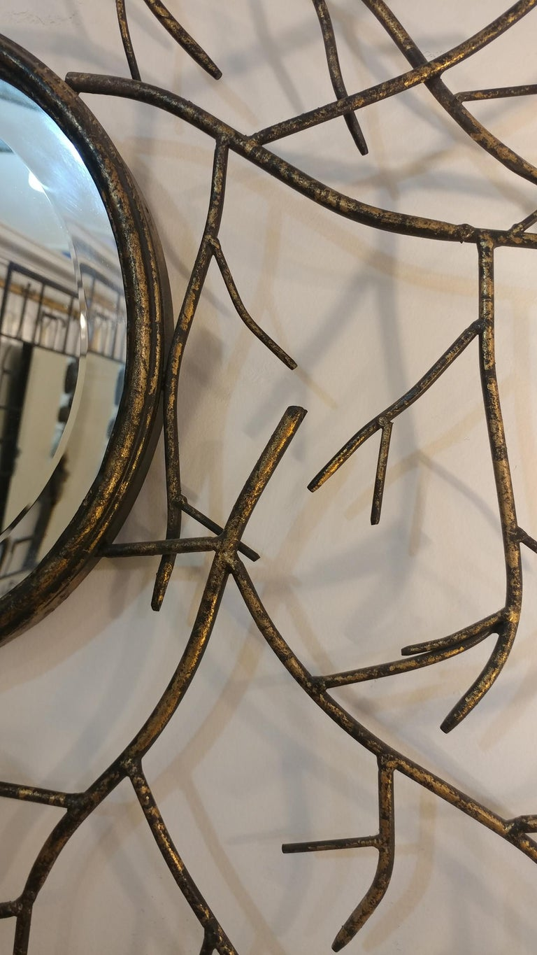 Unknown Les Branches Patinated Convex Beveled Mirror, Offered by La Porte For Sale