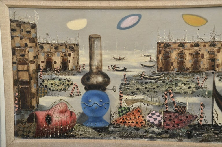 Linen Signed Italian Surrealist Painting by T. Raito For Sale