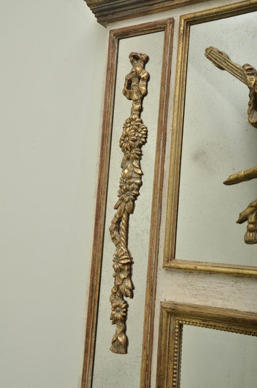 20th Century Large Gold Gilt Trumeau Style Italian Mirror