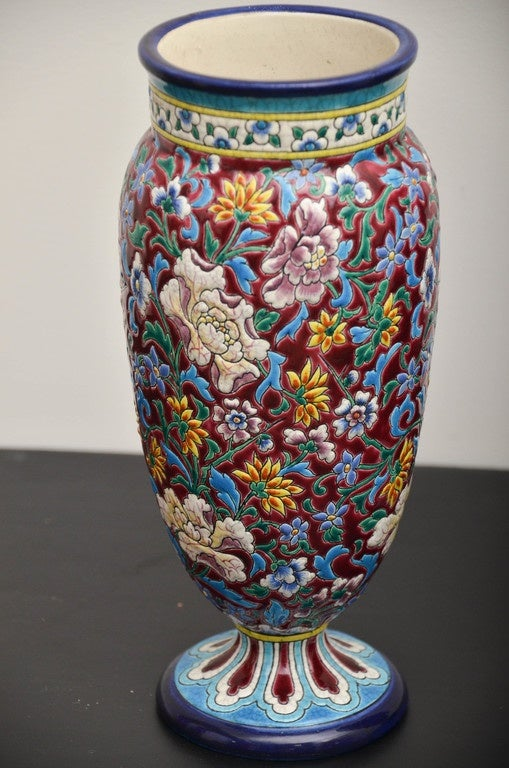 19th Century French Longwy Pottery Vases In Good Condition For Sale In Southampton, NY