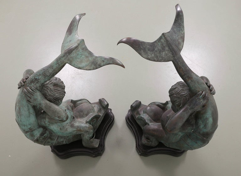Pair of Bronze Putti on Dolphin Garden Statues For Sale 1
