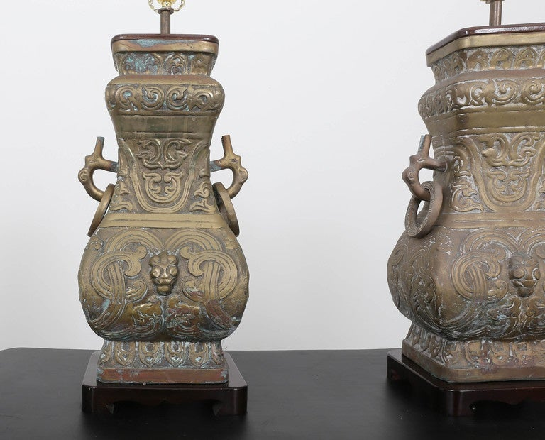 Pair of Bronze Chinoiserie Table Lamps For Sale 3