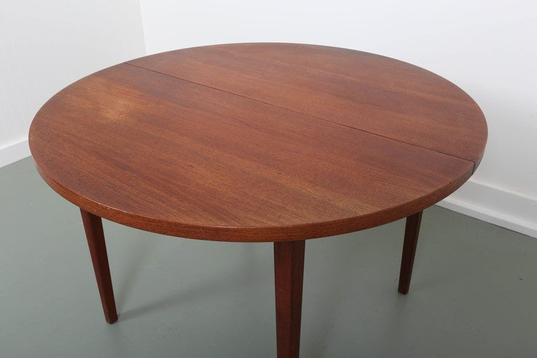 midcentury round teak dining table for sale at 1stdibs