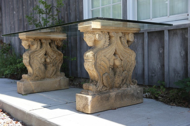 Winged Griffin Cast Stone Pedestal Dining Table With Glass