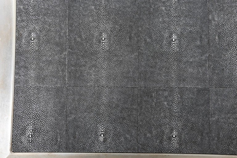 Hollywood Regency Faux Shagreen Leather And Silver Leaf