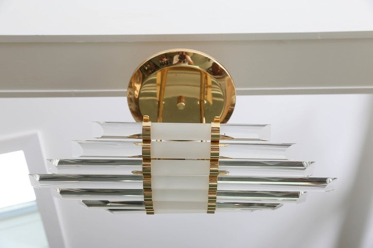 Italian Mid-Century Skyscraper Glass Rod Wall Sconces with Brass Fittings  For Sale
