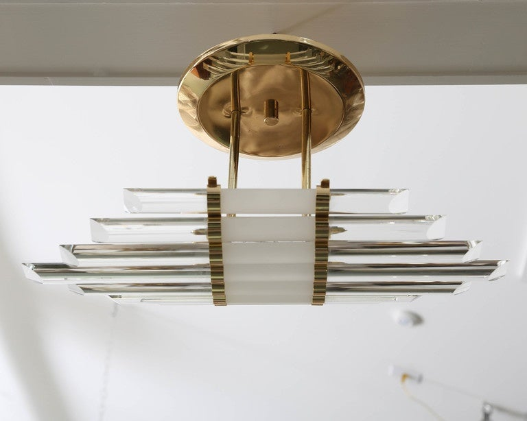 Mid-Century Skyscraper Glass Rod Wall Sconces with Brass Fittings  In Good Condition For Sale In Southampton, NY