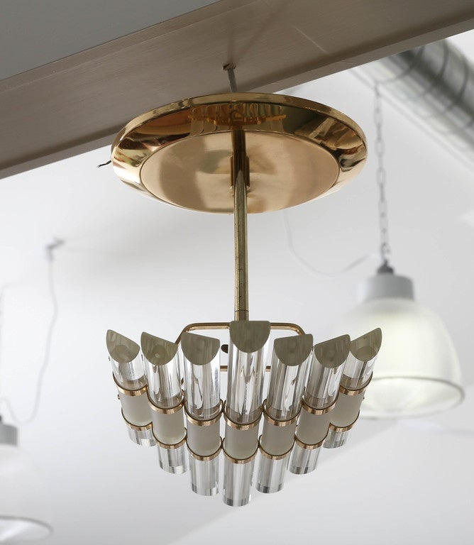 Mid-Century Skyscraper Glass Rod Wall Sconces with Brass Fittings For Sale at 1stdibs