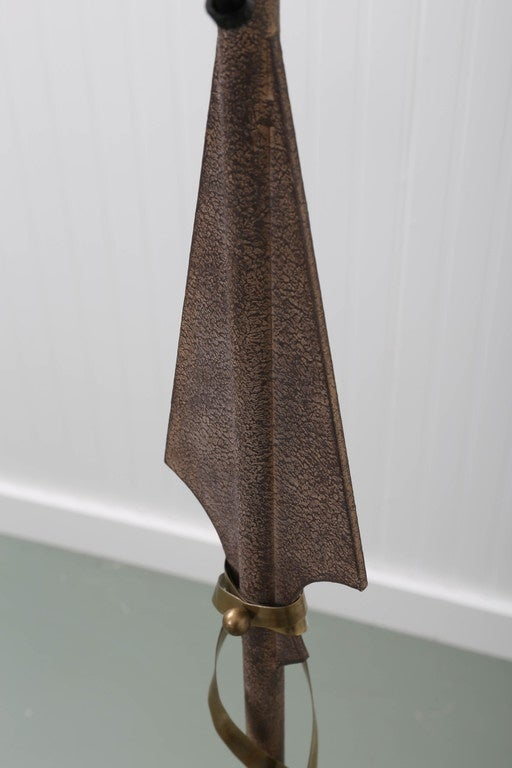 Gilbert Poillerat Style Parchment & Brass Arrow Floor Lamp by Hart Asso. For Sale 1