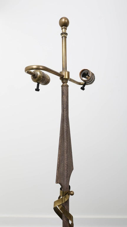 Gilbert Poillerat Style Parchment & Brass Arrow Floor Lamp by Hart Asso. For Sale 2