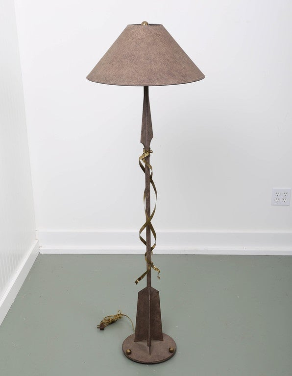 Gilbert Poillerat Style Parchment & Brass Arrow Floor Lamp by Hart Asso. For Sale 3