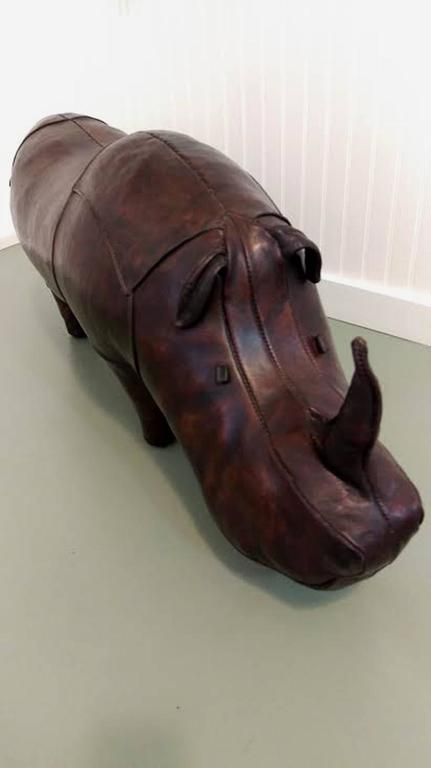 Good looking vintage leather rhinoceros by Omersa for Abercrombie & Fitch. Beautiful well handcrafted original high quality leather in rich brown patina. Good vintage condition, it shows minor wear, but exceptional for its age.