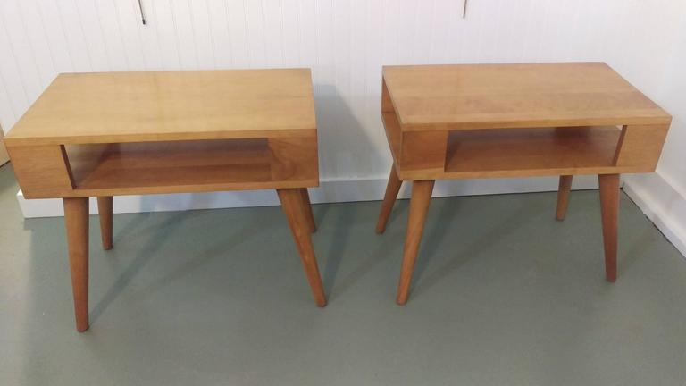 American Pair of Russel Wright for Conant Ball End Tables or Nightstands; La Porte For Sale
