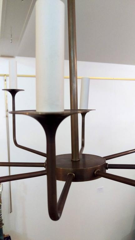 American Modern 1970s Chapman Eight-Arm Chandelier, Offered by La Porte For Sale