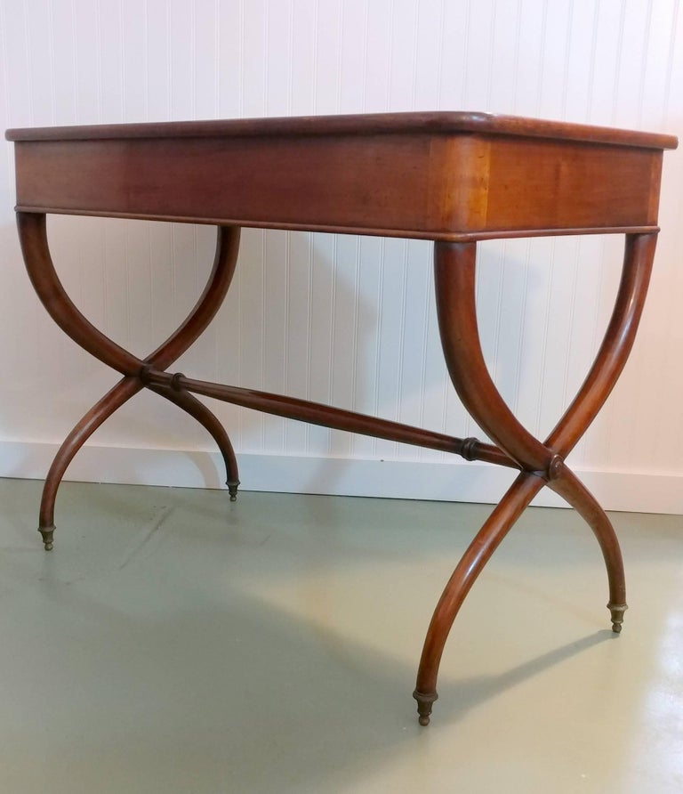 Brass French Mahogany Tooled Leather Desk on X-Base 1900s, Offered by La Porte For Sale