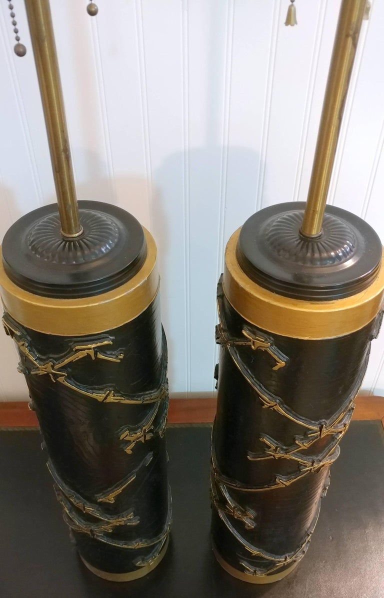 Pair of French Abstract Bamboo Relief Column Table Lamps, Offered by La Porte In Good Condition For Sale In Southampton, NY