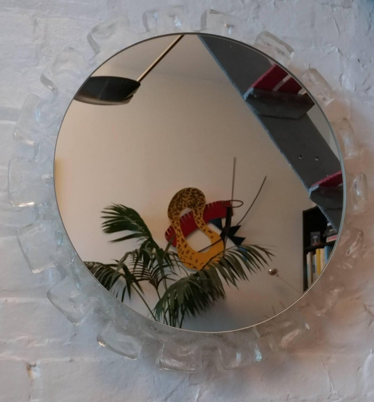 Mid-Century Modern Italian Illuminated Convex Perspex Wall Mirror, 1960s Offered by La Porte For Sale