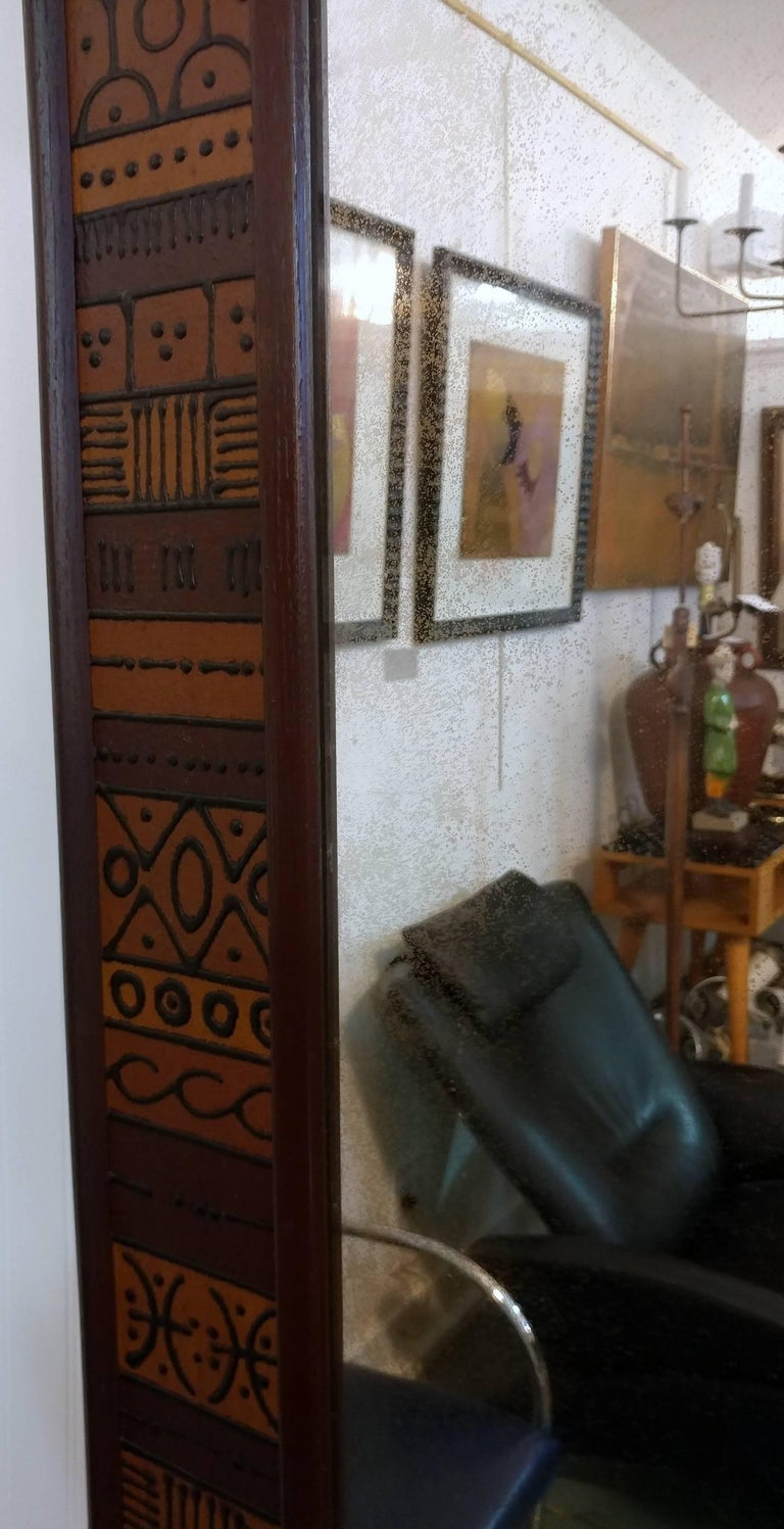 Unusual Custom Raised Pattern Walnut Frame Mirror, 1950s Offered by La Porte In Good Condition For Sale In Southampton, NY