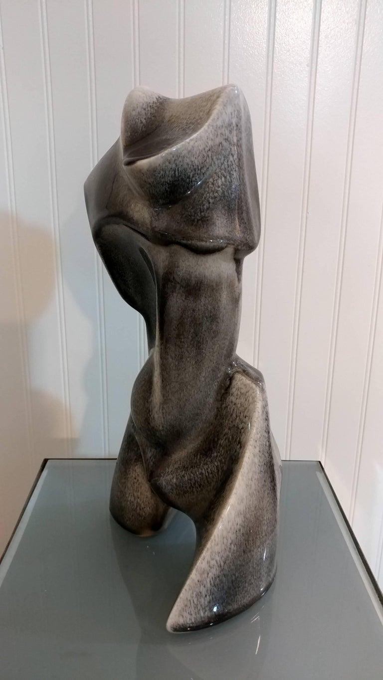 Cubist Abstract Ceramic Sculpture by Heifets 1950s, Offered by La Porte In Excellent Condition For Sale In Southampton, NY
