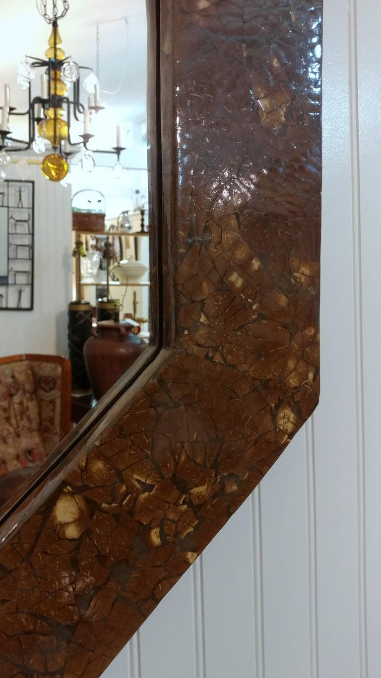 Octagonal Lacquered Parchment Mirror, 1970s Offered by La Porte 3