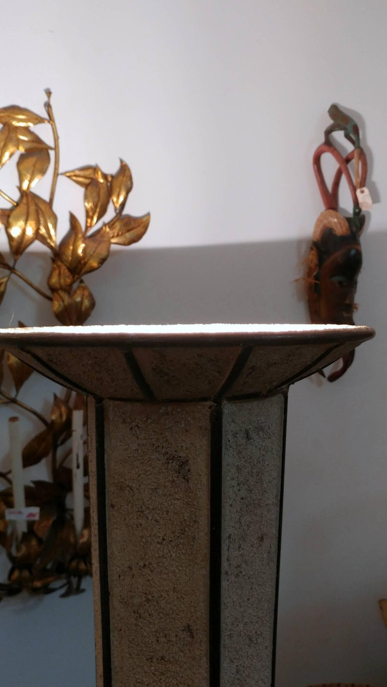 Unknown Sculptural Cubist Stucco and Brass Torchiere, Offered by La Porte For Sale
