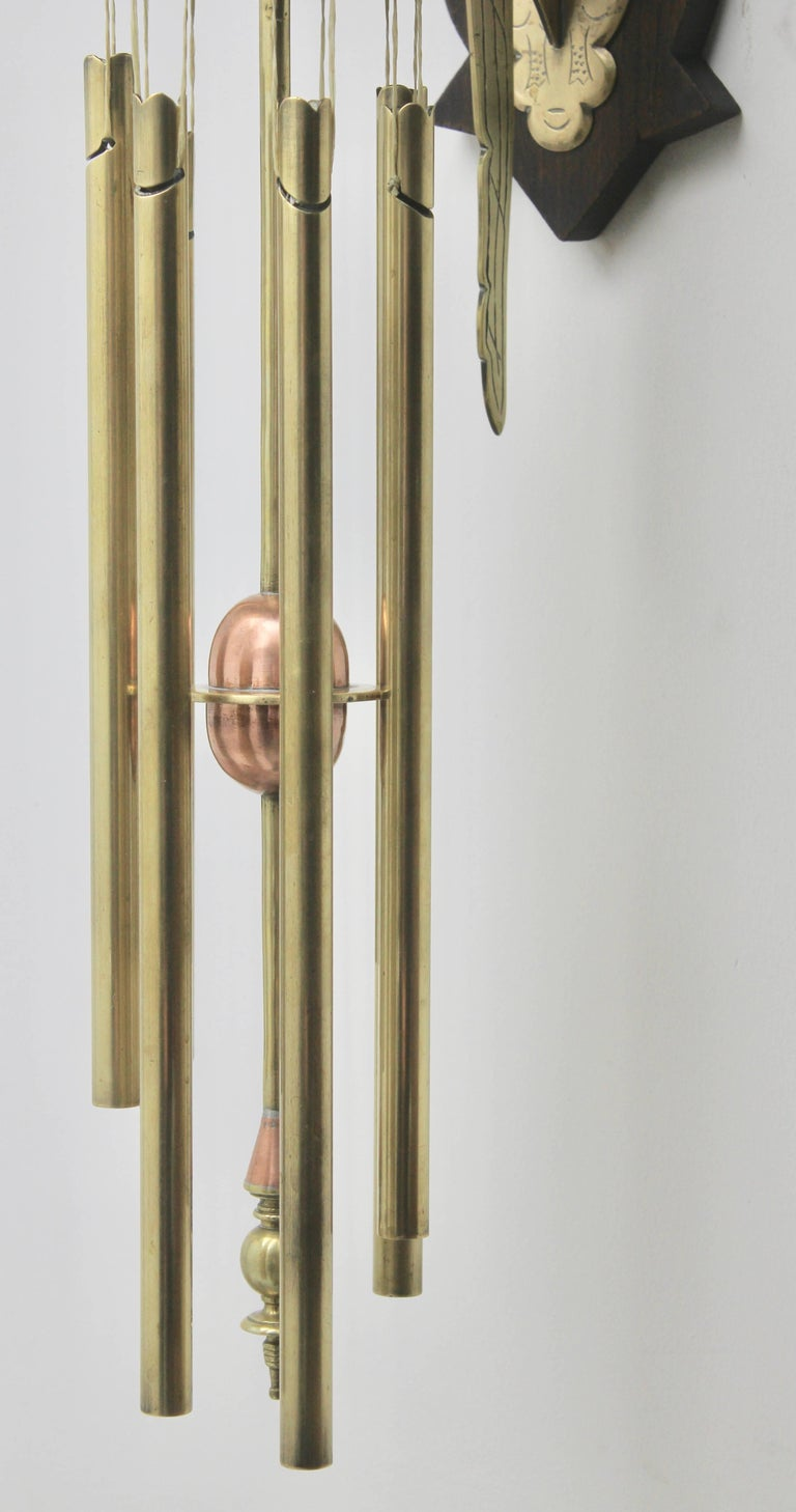 Austrian Arts & Crafts Chime Tubular Bells, Brass Wall Mounted Dinner Gong 'Doorbell'   For Sale