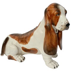 Realistic Bassett Hound Lifesize and a Real Beauty, Marked S.M./7479, Italy