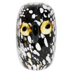 Murano Black and White Owl, circa 1960 Excellent Condition, Italy
