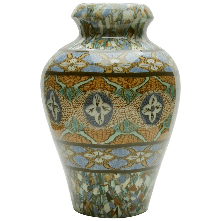 French Vallauris Handmade Clay Mosaic Vase by Ceramicist Jean Gerbino Signed