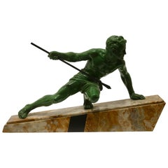 "Art Deco Large Sculpture ""The Hunter"" Signed ""Uriano"" on Marble Base"