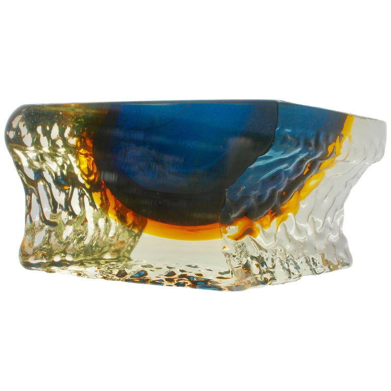 Murano 'Sommerso' Textured and Faceted Blue Ice Glass Vase by Mandruzzato