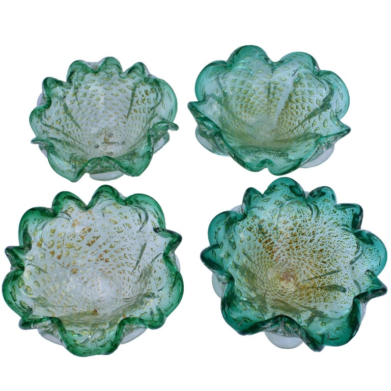 Murano Glass Chartreuse and Gold Fleck Ruffle Biomorphic Bowls of 1950s