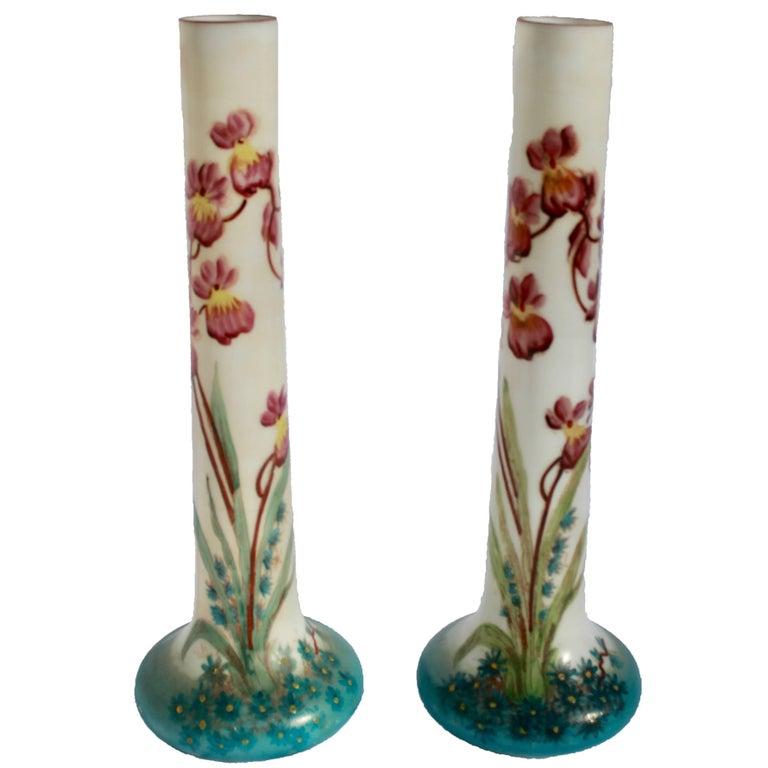 Art Nouveau Glass Decorative Vases France 1920 With Floral