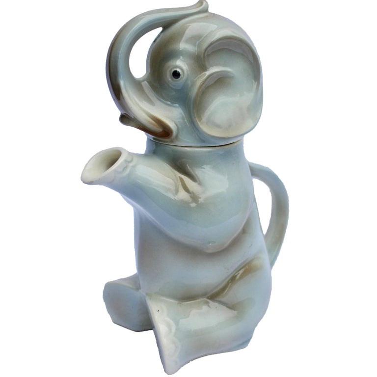 Glazed Ceramic Teapot in the Shape of Elephant Handmade For Sale
