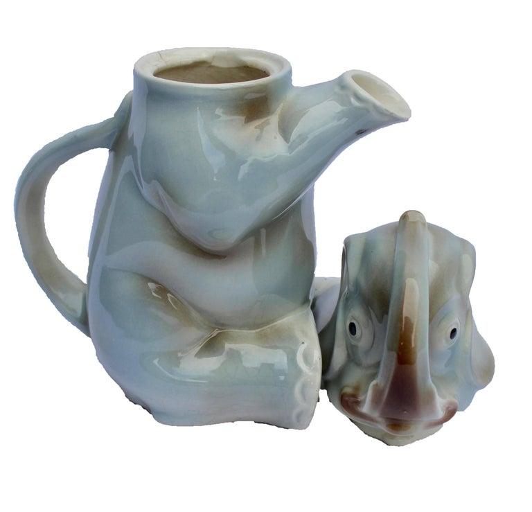 Art Deco Glazed Ceramic Teapot in the Shape of Elephant Handmade For Sale