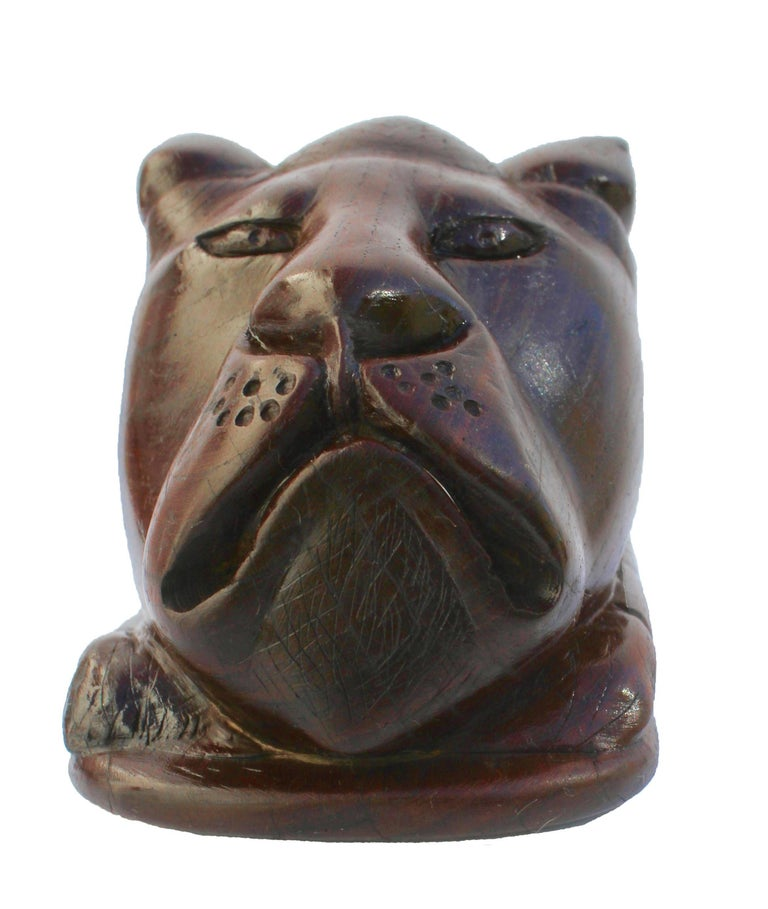 Art Deco Paperweight Made of Hardwood Carving Depicting a Animal Head For Sale