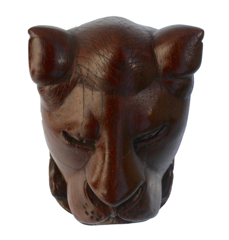 Balinese Paperweight Made of Hardwood Carving Depicting a Animal Head For Sale