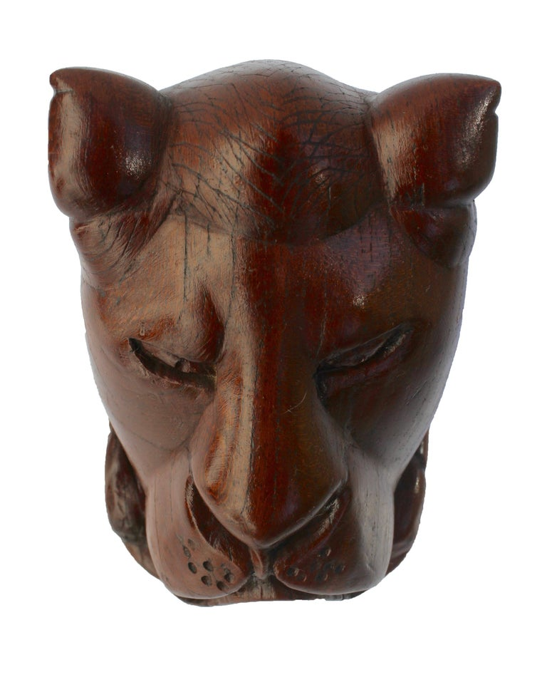 Paperweight Made of Hardwood Carving Depicting a Animal Head In Excellent Condition For Sale In Verviers, BE