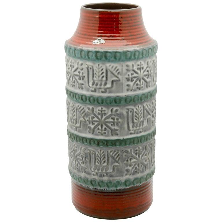 West German Floor Vase Bay Pottery, Designed by Bodo Mans, Signed, circa 1967