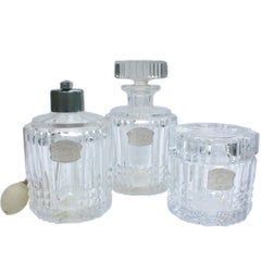 Val Saint Lambert Clear Crystal Three-Piece Dresser Set, 20th Century