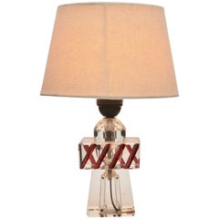 Table Lamp in Various Designs of Cut Crystal and Colored in the Mass