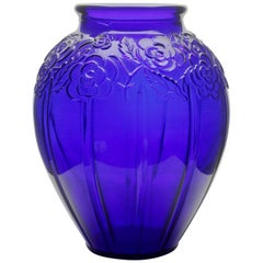 Art Deco Large Vase, Made of Deep Blue Pressed Glass with Flower Decoration