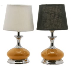 Art Deco Table Lamps Chrome and Ceramic Details
