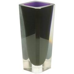 Murano Faceted Hexagonal Deep Purple Vase Sommerso