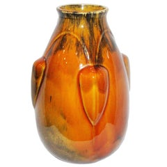 Deep Orange Art Deco French Ceramic Vase, 1930s