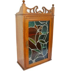 French Art Nouveau Display Case Cabinet with Colored Stained Glass