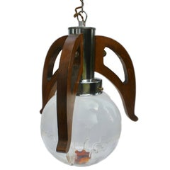 Pendant with Globes of Clear Glass with Orange Inclusions by Mazzega