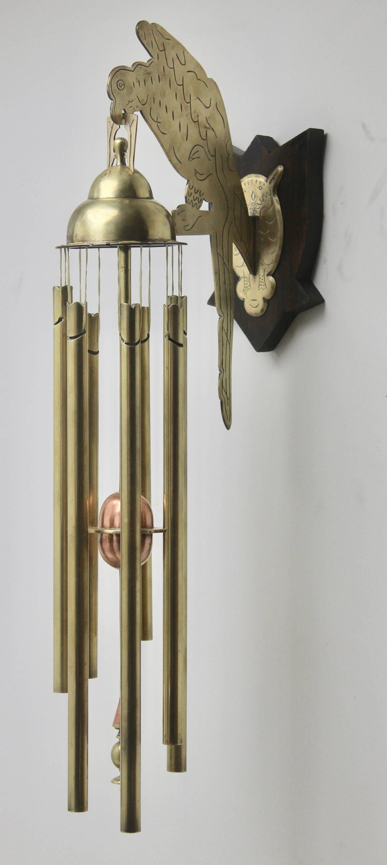 Hand-Crafted Arts & Crafts Chime Tubular Bells, Brass Wall Mounted Dinner Gong 'Doorbell' For Sale