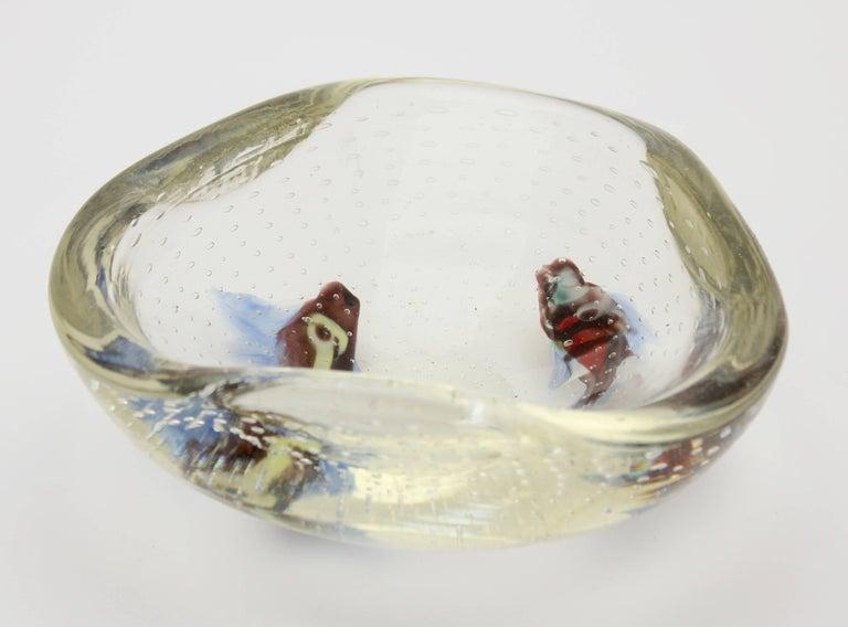 Mid-Century Modern Midcentury Italian Murano Art Glass Aquarium Fish Bowl Sculpture For Sale